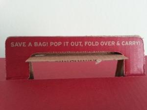 Fair Trade blogg kartong miljövänlig kasse närbild