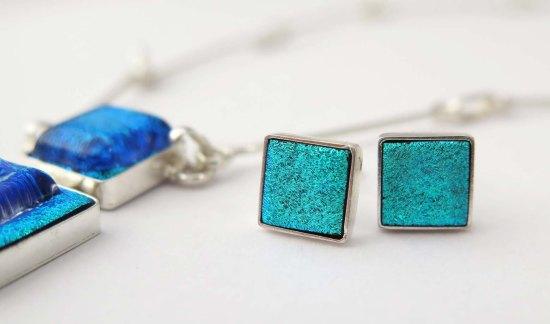 Fair Trade Shop kollektion v14 silver Fyrkant hänge och örhänge