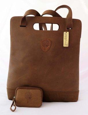 Eko-läder brun väska och börs