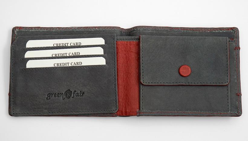 Plånbok ekoläder grå-röd 1 insida